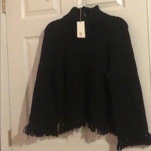 Tory Burch Black Jennifer sweater with fringe edge